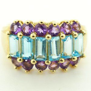 Womens 10K Yellow Gold Blue Topaz and Amethyst Rin